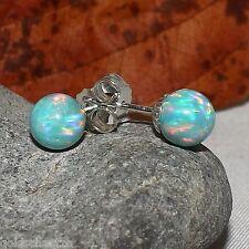 Opal Ohr Stecker 7mm türkis grün – 925 Silber - synth. lab created Opal Ohrringe