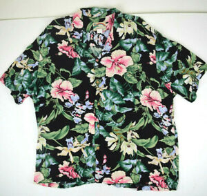 Vintage Paradise Found Rayon Hawaiian Shirt 3XL Black Heavenly Orchids HIbiscus