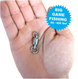Stainless Steel EXTRA HEAVY BIG GAME FISHING Swivels Double Bearing Solid Ring