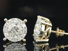2Ct Diamond Earrings Solitaire Studs 14K Yellow Gold Finish Round Brilliant Cut
