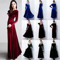 Women Lady Long Sleeve V Neck Long Dress Slim Waist Velvet Maxi Party Dress