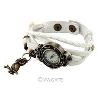 Womens Retro Vintage Weave Wrap Around Leather Bracelet Owl Quartz Wrist Watch