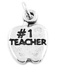 STERLING SILVER #1 TEACHER APPLE CHARM OR PENDANT