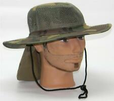 Men Summer Safari Outback Mesh Summer Hat W/Neck Flap #981 Camouflage Small