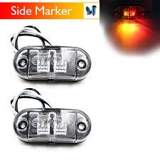 2X Red Amber 10V-30V Indicator Light LED Side Marker Trailer Clearance Truck Car