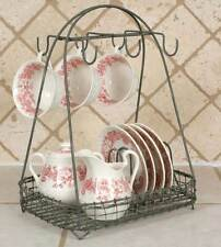 New Vintage Style Dish Teacup Rack Caddy Holder Shabby Chic French Country