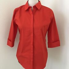 Worthington Women's Red Button Down Shirt size S 3/4 Sleeve