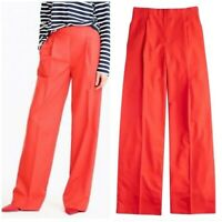 $118 J Crew Wide Leg Pleated Parachute Taffeta Pants Red Orange Women L Sz 14