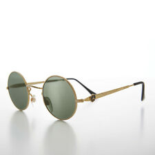 John Lennon Round Gold Sunglass with Peace Sign and Glass Lens - Arrow