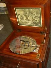 "Vintage Rare Large Wood Thorens 11"" Disc Music Box with 6 Discs"