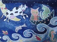 """Fridge Magnet, Quirky Cat & the Fiddle, Cow jumped over the moon 4.25"""" by 5.5"""""""