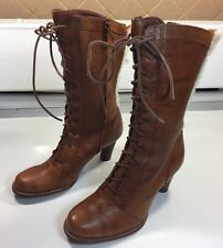 UGG Australia Brown Leather Wood Heel Lace up Zipper Boots 5503 Women's Sz 6