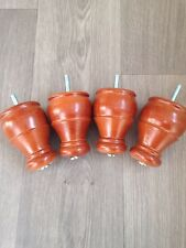 4x Traditional Tapered Bun Feet, Wooden Furniture Legs, Sofa, Chairs, Free P+P