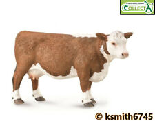 CollectA HEREFORD COW solid plastic toy farm pet animal brown & white * NEW 💥