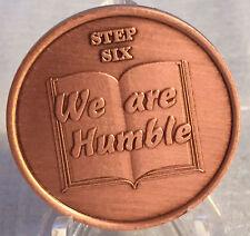 Step 6 Copper Twelve Step Medallion AA NA Recovery 12 Steps Serenity Prayer Chip