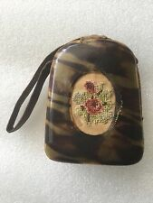 Antique Victorian Edwardian Vintage Leather Purse small handbag Silk Embroidery