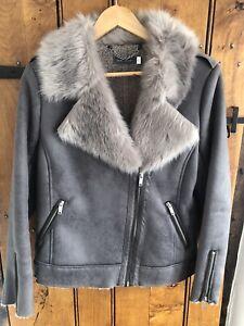 Mint Velvet Grey Aviator Jacket Size 10