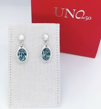 New UNO de 50 Silver Tone Flash Blue Crystal Drop Earrings