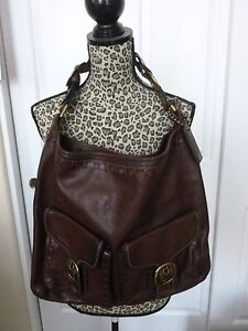 Coach LE Bleecker Elisa Laced Leather XL Slim Duffle Hobo Bag Purse - Brown