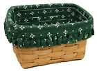 Longaberger Recipe Basket 1996, Woven Traditions Green Liner and Protector