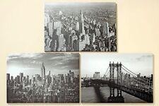 3er Set große Wandbilder New York Empire State Building Manhattan Bridge Bilder