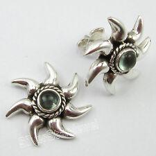 "925 Pure Silver Genuine APATITE WOMEN'S Sun Style Stud Post Earrings 0.7"" NEW"