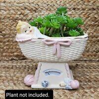 Vintage Napcoware Baby Nursery Planter In Bassinet Toys Ceramic Japan Pink/Blue