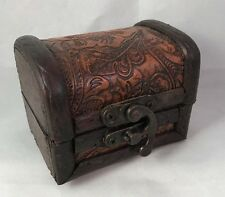 Unique Antique Hand Made Wood Leather Pirates Chest Jewelry Trinket Stash Box