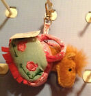 LITTLE PURSE WITH MINIATURE PLUSH HORSE WITH ZIPPER  METAL CLIP