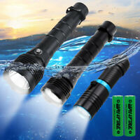 Super Bright LED Diving Scuba Flashlight Underwater 80M Waterproof Light Torch