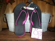 OCEAN PACIFIC GIRLS FLIP FLOPS SIZE 13-1 COLOR BLACK PINK KIDS BEACH SHOES NEW