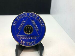 4 YEAR BLUE & BLACK AA MEDALLION -- ALCOHOLICS ANONYMOUS CHIP