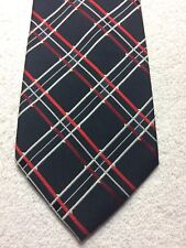 CUSTOM SHOP MENS TIE BLACK WITH RED BURGUNDY AND WHITE 3.75 X 57