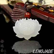 Vivid Hand-carved Lotus Flower Natural Pure White Jade Jadeite Pendant Necklace