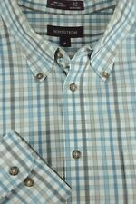 Nordstrom Men's White Blue & Brown Checker Cotton Casual Shirt XL XLarge