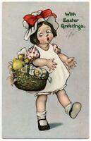 022220 KATHARINE GASSOWAY TUCK EASTER POSTCARD GIRL WITH CHICKS IN BASKET C 1906