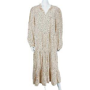 NEW Monsoon Nude Natural Black Pattern Long Sleeve Dress Sz L V-Neck