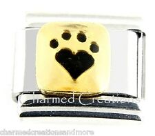 Gold And Black Dog Cat Animal Pawprint 9mm Italian Charm Stainless Modular Link