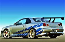 W676 Nissan Skyline R34 GT-R GTR Muscle Car Art Hot 12x18 24x36in FABRIC Poster