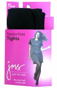 """Just My Size Women's Silky Tights Panty Hose, Black, 3X; 2X   """"New & Plus Size"""""""