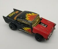 Matchbox '57 Chevy Superfast 1979, red and black with flames, hood lifts Retro