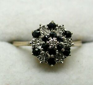 Beautiful 9 carat Gold Sapphire And Diamond Cluster Ring Size P