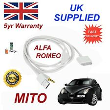 For Alfa Romeo MITO 3GS 4 4S iPhone 30 pin iPod USB & 3.5mm Aux Audio Cable w
