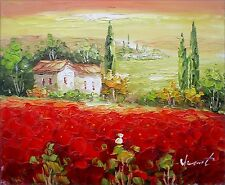 Quality Hand Painted Oil Painting, Tuscany Italy Poppy Field - II, 8x10in