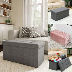 Crushed Velvet Ottoman Foot Stool Storage Box Furniture Seat Rest Cube Foldable