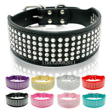 Bling Rhinestone Dog Leather Collar for Medium Large Dogs Wide Necklace Labrador