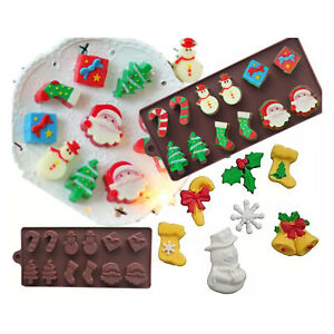 DIY Homemade Chocolate Biscuit Mold Christmas Santa Silicone Cake Mould