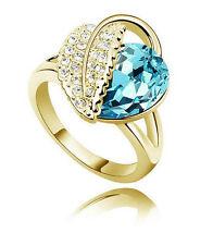MERAVIGLIOSI Blu oceano cristallo anello foglia color oro misura media o 17 mm