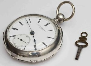 1878 ROCKFORD 18 size COIN SILVER KEY WIND Pocket Watch - EXCELLENT & WORKS