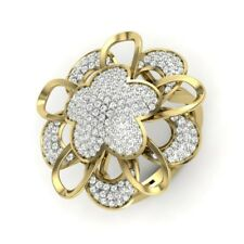 1Ct Round Cut Simulant Diamond Blooming Flower Ring 925 Silver Yellow Gold Finsh